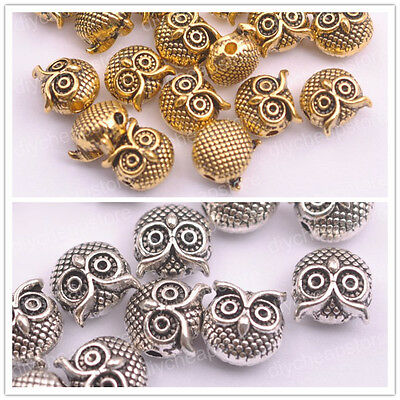 FREE SHIP Antique Tibetan Silver Owl Charm Spacer Beads Jewelry Findings F3149
