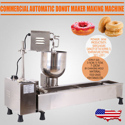 Commercial Automatic Donut Maker,donut Making Machine,Wider Oil Tank,3 Sets Mold