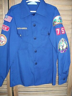 Boy Scouts of America~BSA~l/s blue uniform shirt~youth M~medium~10-12~patches~