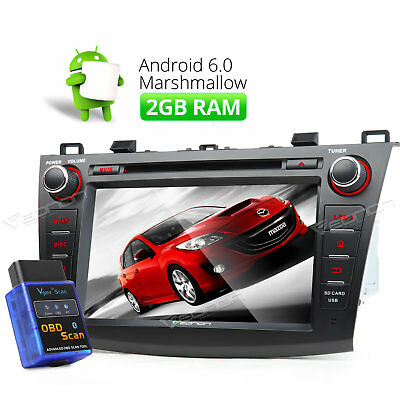 """OBD-II Android 6.0 8""""Car DVD GPS for Mazda 3 Touch DAB+ Head Unit Elm327 CD"""