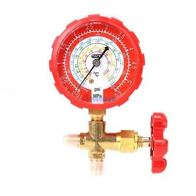 R134A R410A R22 High Pressure Single Manifold Gauge Brass Valve A/C HVAC 1/4''