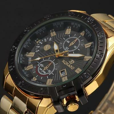 Mens Black Dial Gold Stainless Steel Date Quartz Analog Sport Wrist Watch SB
