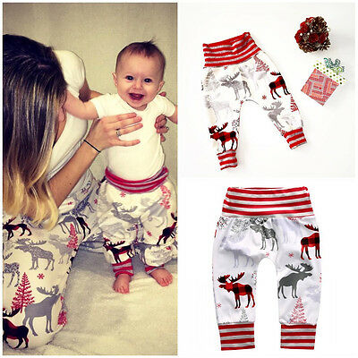 Christmas Family Matching Pants Women Kids Baby Trousers X-mas Reindeer Leggings