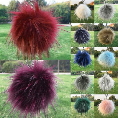 Fake Raccoon Fur Fluffy Pompom Ball Handbag Car Pendant Charm Key Chain Keyrings