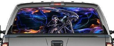 Grim Reaper - Skulls And Fire - Truck/rear Window Decal-Awesome Picture