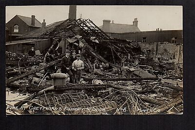Ipswich - Fire at Grey Friars Foundry - real photographic postcard