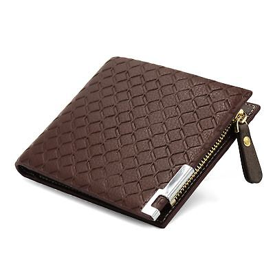 Mens Luxury Soft Quality Leather Wallet Credit Card Holder Purse Brown with Zip