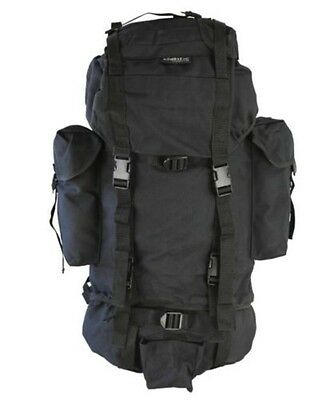 BRITISH ARMY / SPECIAL FORCES STYLE BACKPACK RUCKSACK in BLACK 60 LITRE