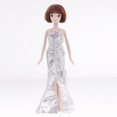 Fashion Doll Silver Evening Dress Outfit for Barbie 12inch Doll Formal Dress