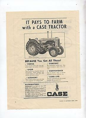 Case Tractor Advertisement removed from 1952 Australian Journal