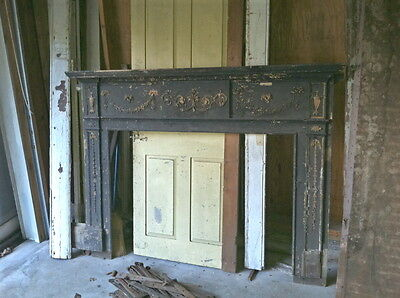 Nice old painted late 18th century Federal Fireplace Mantle Mass. shore