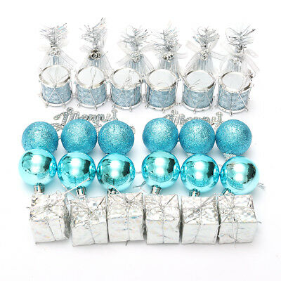 32Pcs Silver Blue Christmas Tree Baubles Decorations Hanging Bell Balls Ornament