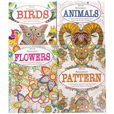 Creative ADULT COLOURING BOOKS Animal/Bird/Floral/Patterns Relaxing GIFT SET
