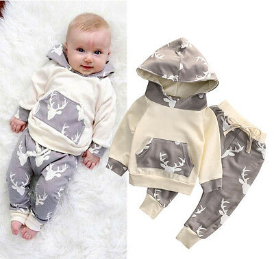 UK Toddler Baby Boy Clothes Deer Hooded Tops Coat Long Harem Pants Outfits Set