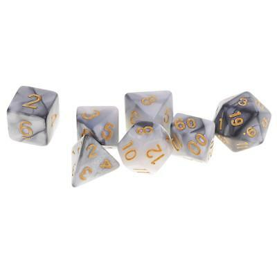 7x Polyhedral Dice Dungeons & Dragons DND MTG RPG Party Supplies Grey White