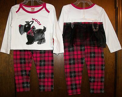 Girls Pant Set sz 24 mos FISHER-PRICE White,Red&Black/Scottie & Skirted Pant NWT