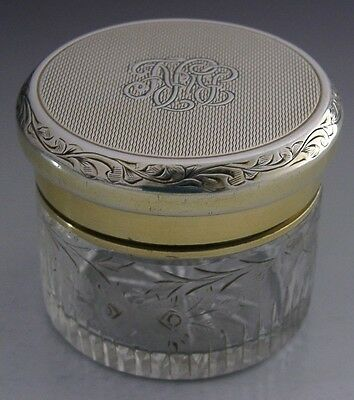 Asprey's Sterling Silver Gilt Sealed Jar / Travelling Inkwell 1936 Antique