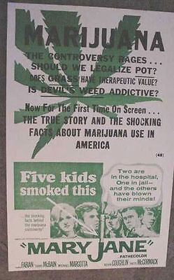 MARIJUANA MARY JANE MOVIE POSTER 60s POT anti DRUG ART weed 420 vintage style