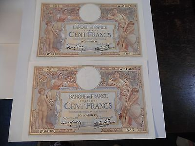 1939 France (2) 100 Francs Dated 2-2-1939  Uncirculated Consecutive Numbers