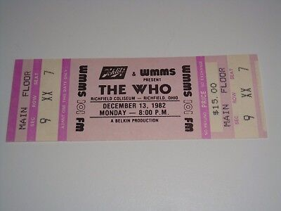 THE WHO 1982 UNUSED CONCERT TOUR TICKET ROGER DALTREY Pete Townshend OHIO USA