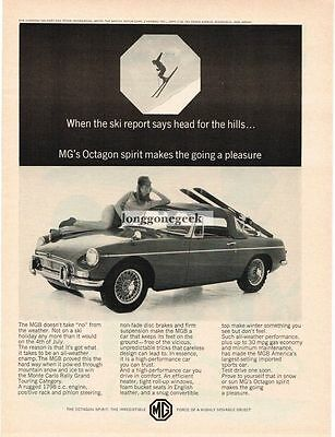1966 MGB Convertible Top Up Woman Snow Skier Vtg Print Ad