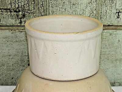 Ruckels Ill SAWTOOTH Stoneware White Beater Jar ROUNDED INSIDE Butter Crock 2lb