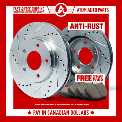 2010 2011 Ford Taurus (See Desc.) (SILVER) Slot Drill Rotor Ceramic Pads Front