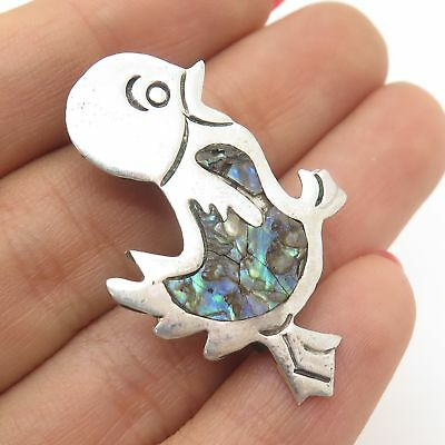 Vtg Mexico 925 Sterling Silver Real Abalone Shell Bird Pin Brooch