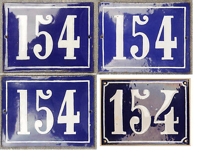 Large old blue French house number 154 door gate plate plaque steel enamel sign