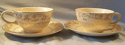 2 Paden City Pottery Duchess Floral Cup and Saucer Set
