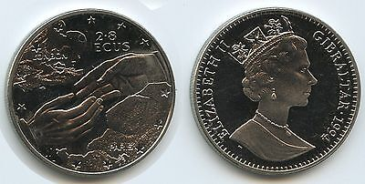 G0022 - Gibraltar 2,8 Ecus 1994 KM#484 Euro Tunnel Clasping hands