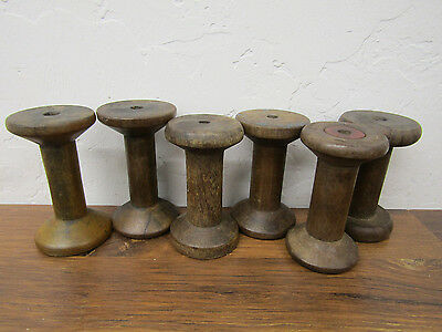 "Lot 6 Antique Vintage Wooden 3 1/3"" Textile Bobbins Unpainted Ends"