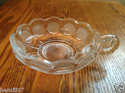 Vintage Fostoria Clear Coin Dot Handled Nappy Bowl/Dish