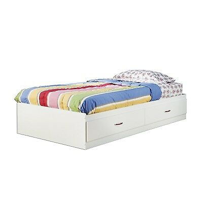 Logik Twin Mates Bed (39'') with 2 Drawers, Pure White - 3360213