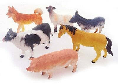 6 x BIG Farm Animals Plastic Figures Sheep Cow Horse Dog Pig Model Playset Toys