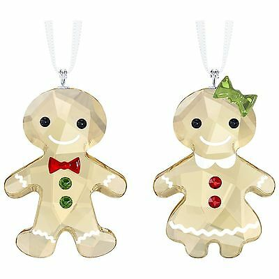 Swarovski Gingerbread Couple Ornament Set # 5281766 Crystal New in Original Box