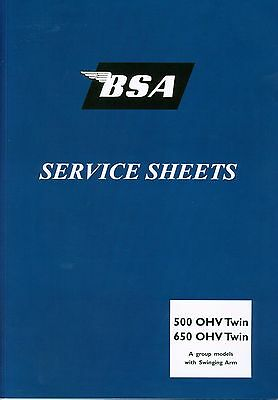 BSA A7 A10 Swinging Arm Service Sheets Set Road Rocket Shooting Star Gold flash