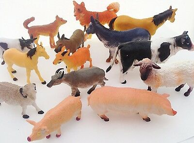 Set of 14 Farm Animals Model Toys Large and Small Plastic Animal Figures set New