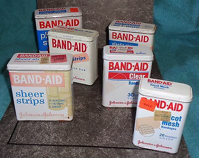 Lot of 6-Collectible Vintage Band-Aid Tin Boxs-Assorted  Sizes & Designs