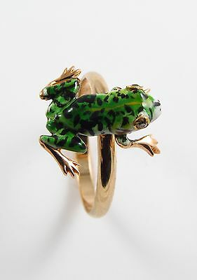 14k Gold Victorian Art Nouveau Enamel Diamond Eyed Frog Ring Size 5.75