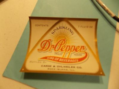 Dr Pepper Soda Bottle Label Carse Ohlweiler Rock Island Illinois 1920's