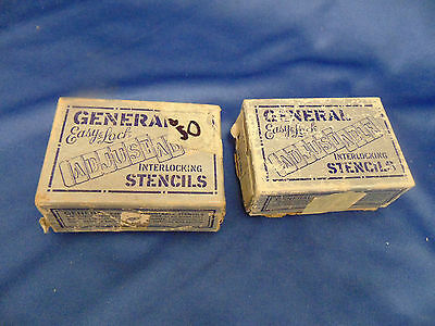 Vintage inter locking brass stencils 2 boxes General Easy Lock printing posters