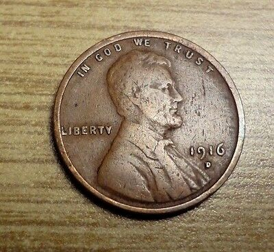 1916D  Lincoln Wheat Cent Penny ; Strong Date;  Clean - Free S/h