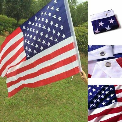 3'x 5' FT American United States US U.S.A Flag  Polyester Brass Stripes New