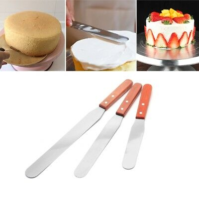 Stainless Steel Butter Cake Cream Knife Spatula Wooden Handle Baking Tools