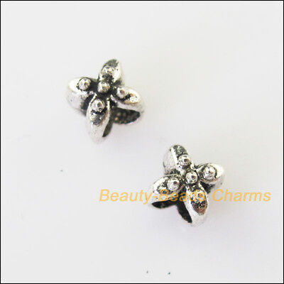 40 New Tiny Leaf Flower Charms Tibetan Silver Tone Spacer Beads 5.5mm