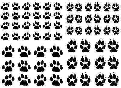 """Dog Cat Paw Print Select Black or White 5"""" X 7"""" Card Fused Glass Decals"""