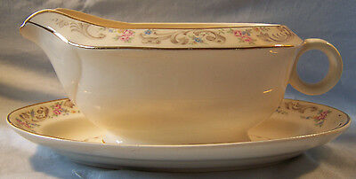 Paden City Pottery Duchess Floral Gravy Boat with Oval Under Plate