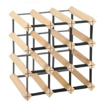 NEW 12 Bottles Capacity Timber Pine Wood and Steel Wine Storage Display Rack