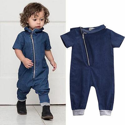 Cute Baby Boy Clothes Denim Romper Zipper Jumpsuit Bodysuit Clothes Outfits PRE